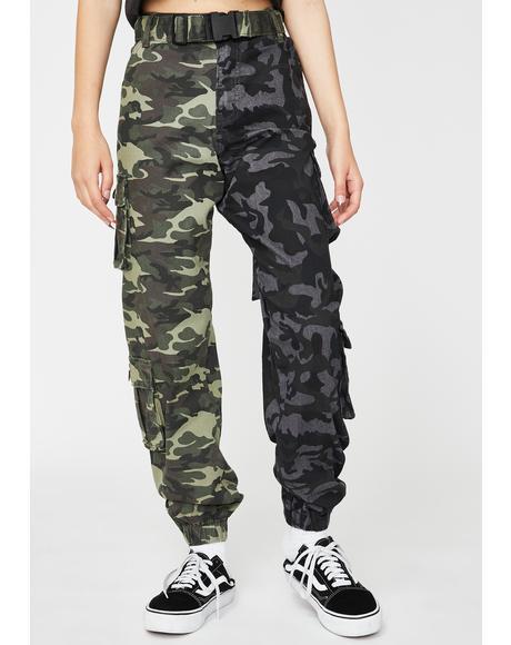Two Tone Camo Cargo Pants