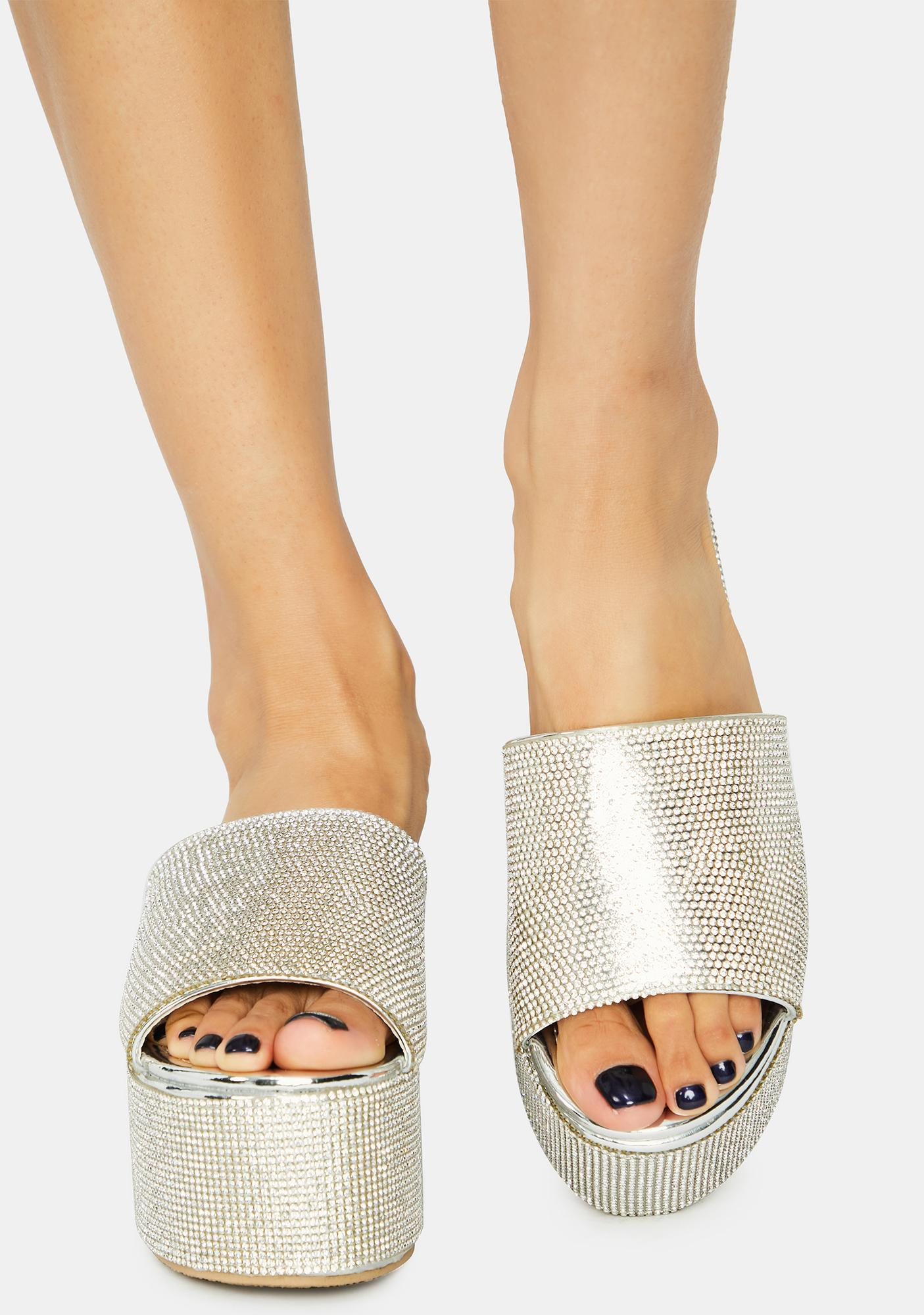 Rhinestone So Called Life Platform Sandals