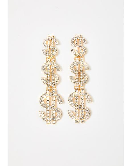 Cash Flow Rhinestone Earrings