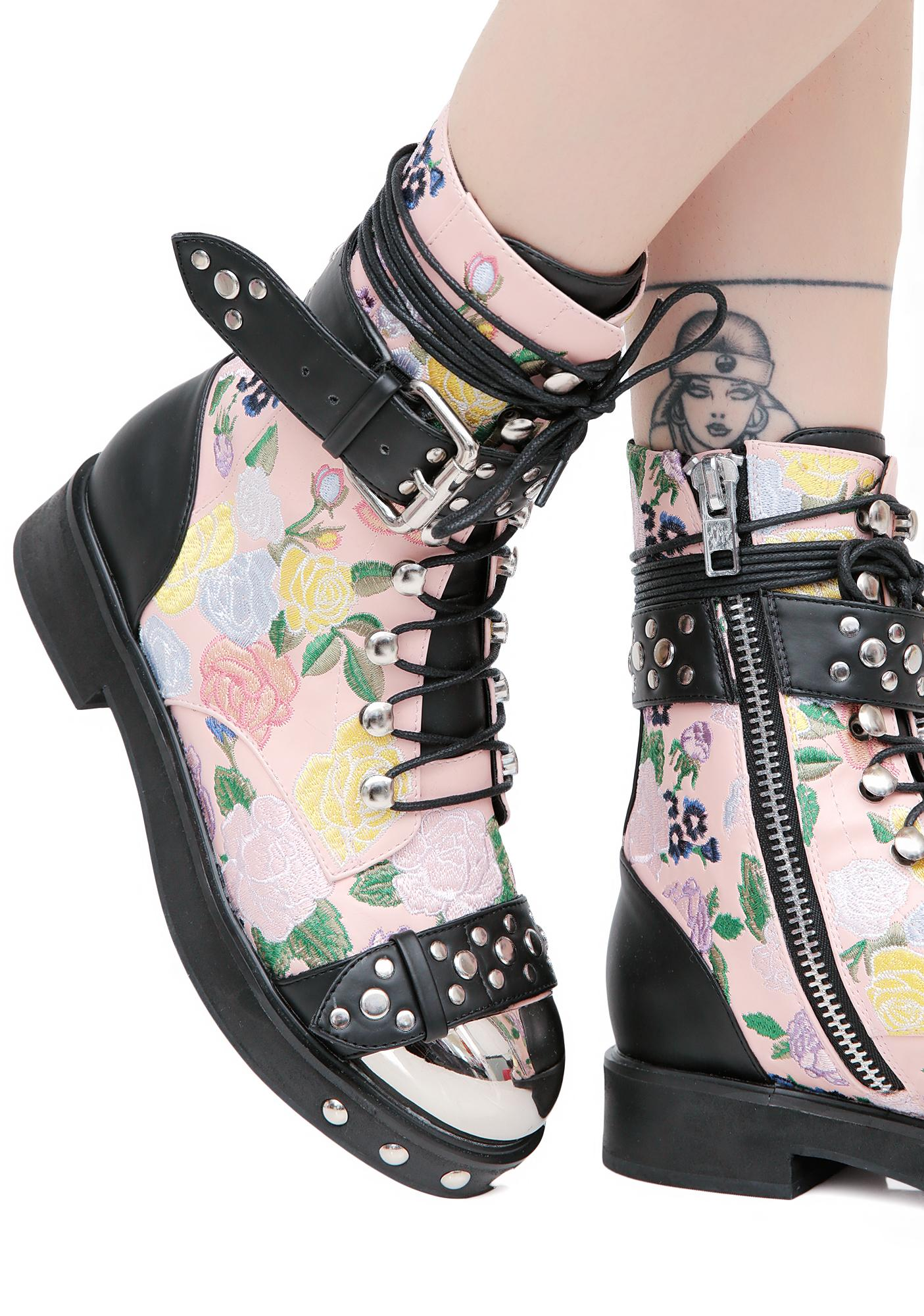 Current Mood Rosie Floral Combat Boots