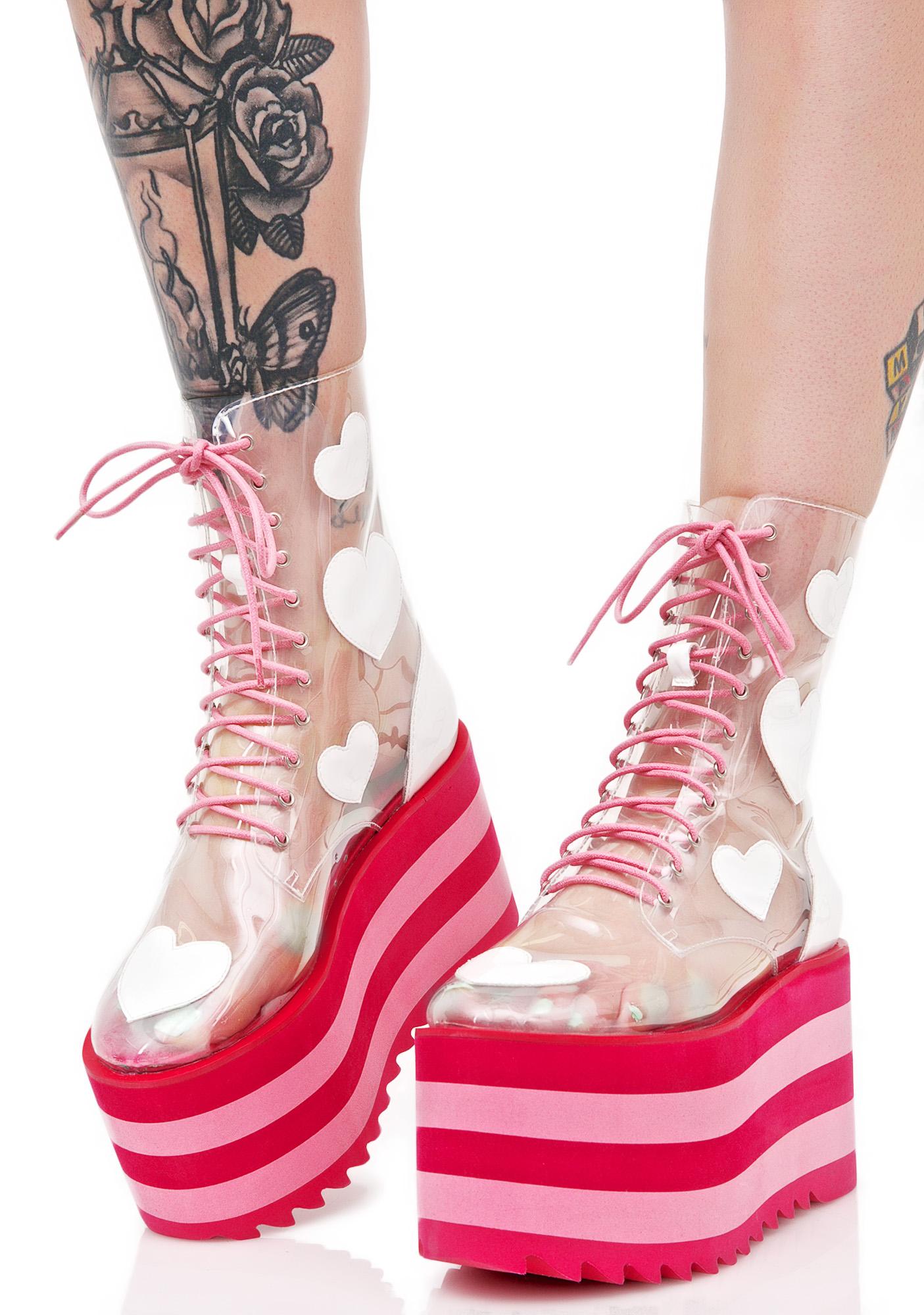 Sugar Thrillz Clear Platform Boots