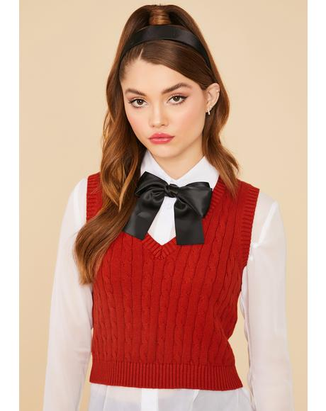 Crimson Point Of View Crop Sweater Vest