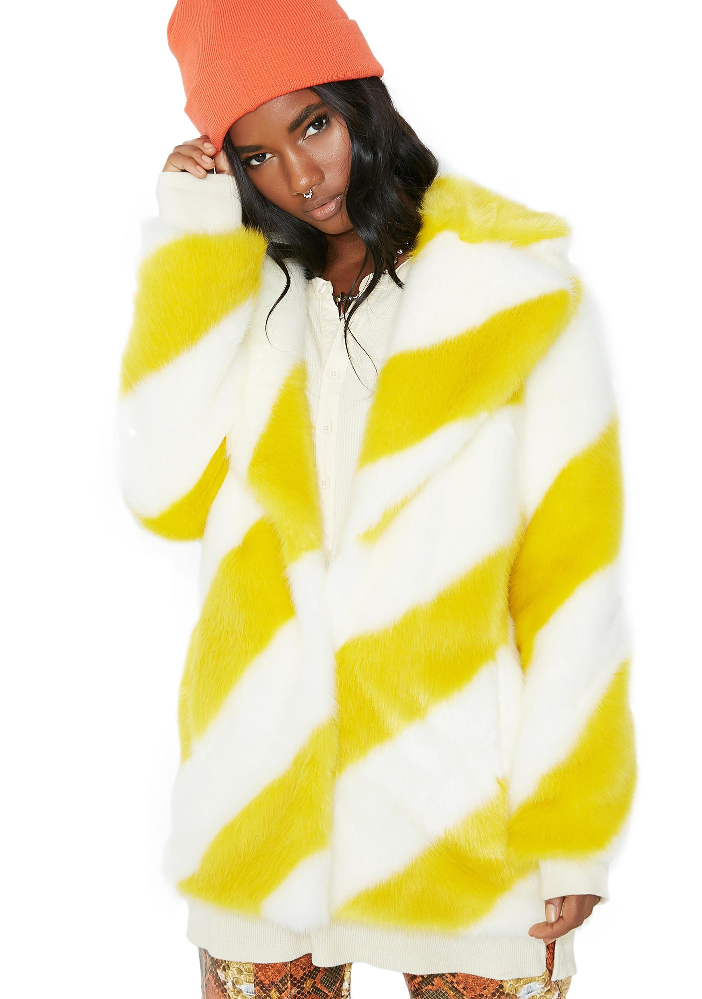 Jakke Yellow Stripe Heather Coat