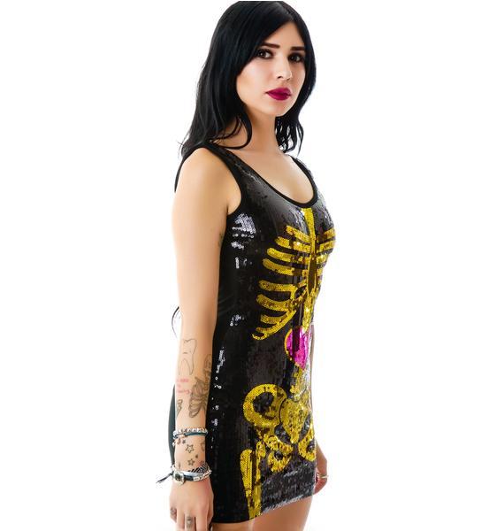 Too Fast Bones Gold Sequin Dress
