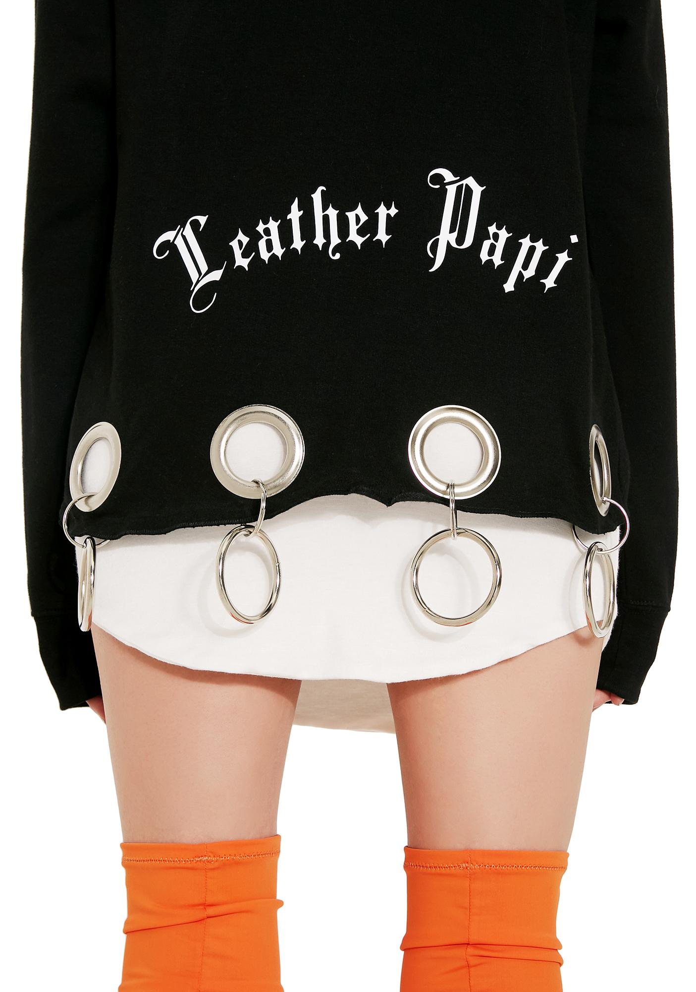 Leather Papi Cropped Grommet Hoodie