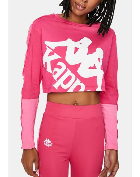 Pink 222 Banda Baloys Long Sleeve Crop Top