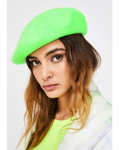 Lime Fetch My Things Neon Beret