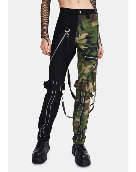 Camo Split Leg Bondage Pants