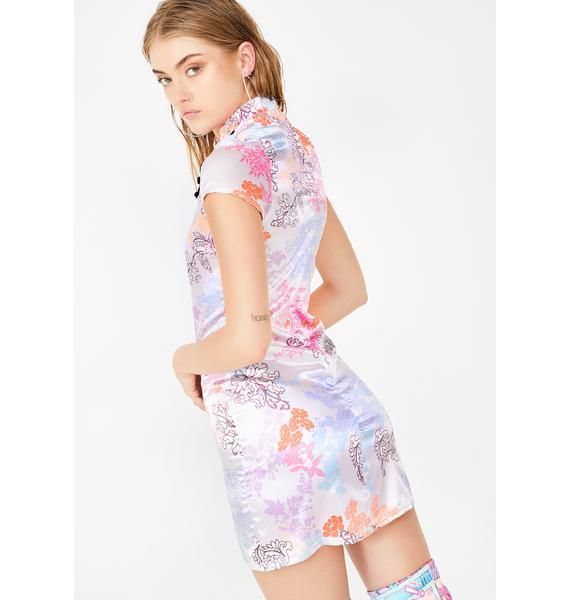 Another Reason Satin Frog Clip Mini Dress