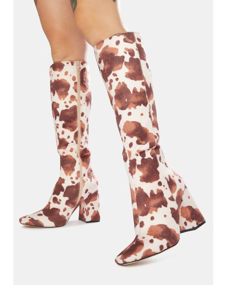 Apology Cowhide Knee High Boots