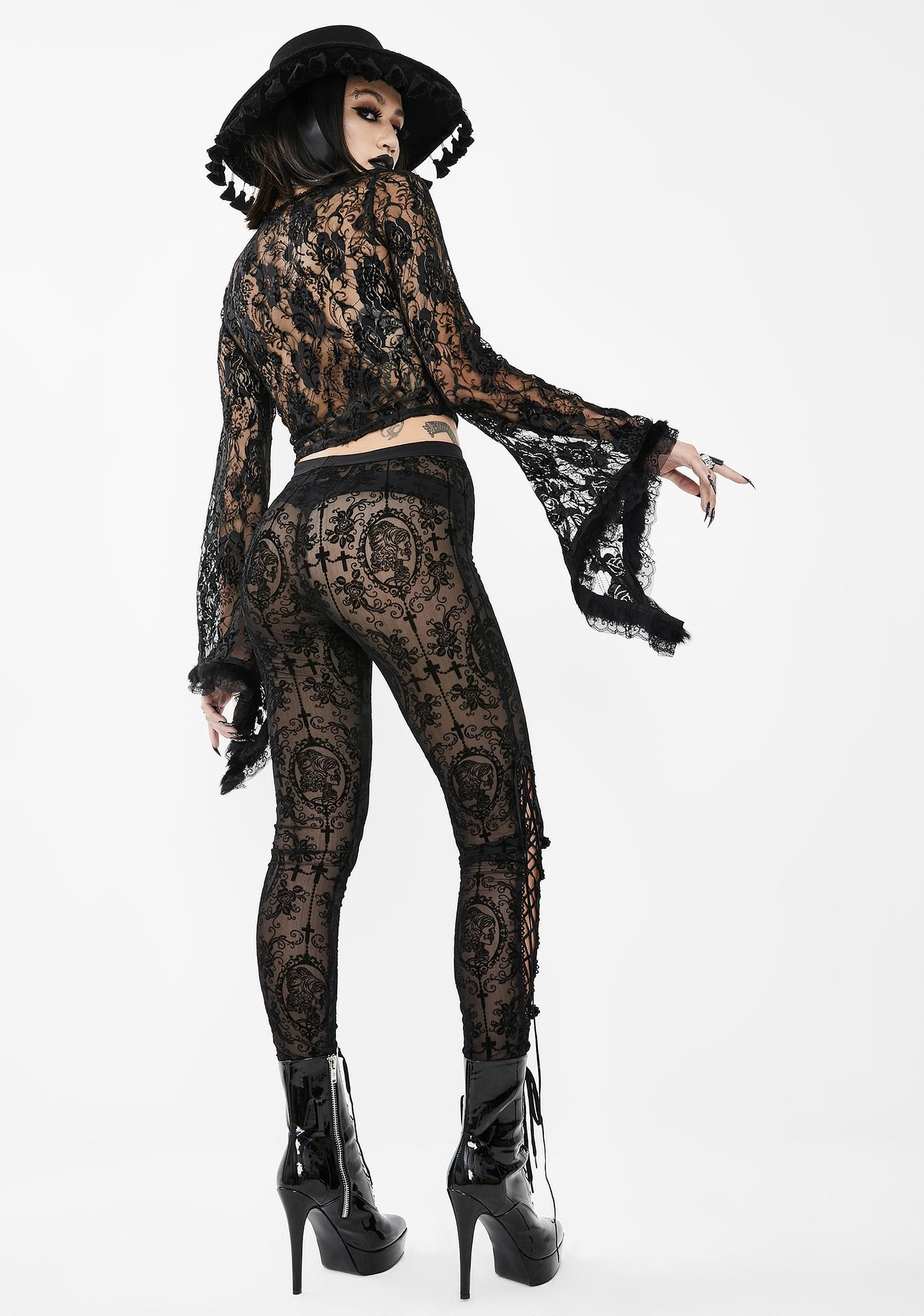 Devil Fashion Skinny Sheer Lace Pants
