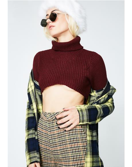 Wine Better Than Ever Turtleneck Crop Top
