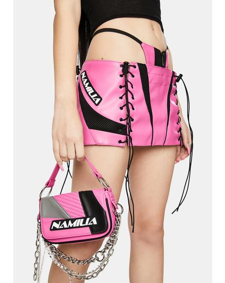 Motocross Pink Lace-Up Micro Mini Skirt With Detachable Panty