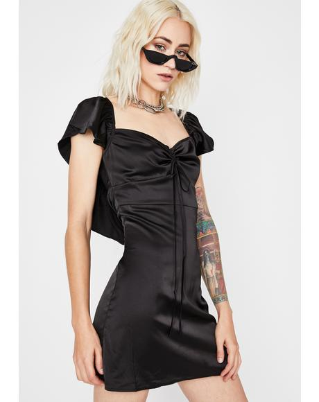 Midnight Ruff Luv Satin Dress
