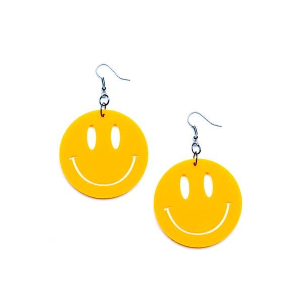 Suzywan Deluxe Mr. Nice Guy Smiley Face Earrings