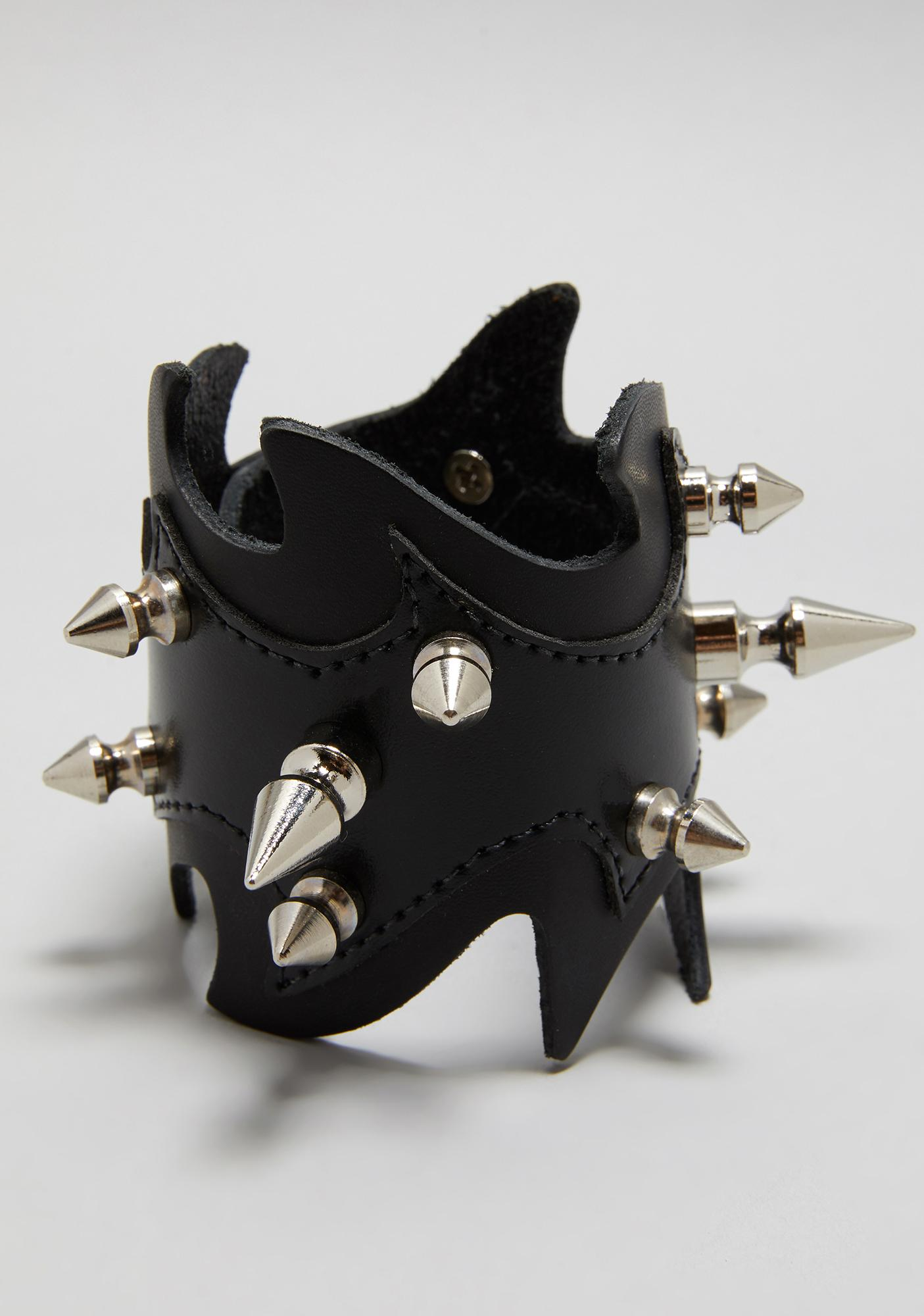 Funk Plus Black Studded Flame Cuff Bracelet