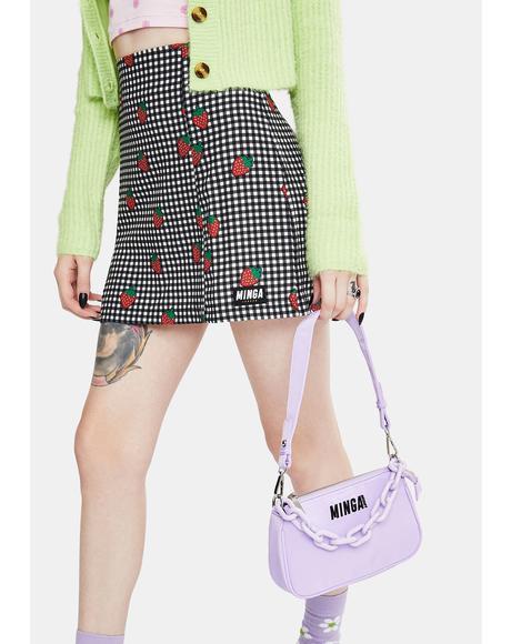 Lilac Chain Baguette Bag