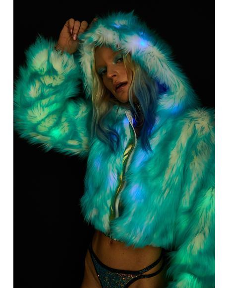 Light-Up Aqua Tip Fur Crop Jacket