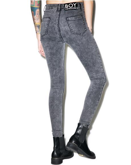 Boy High Waist Stoned Skinny Jeans