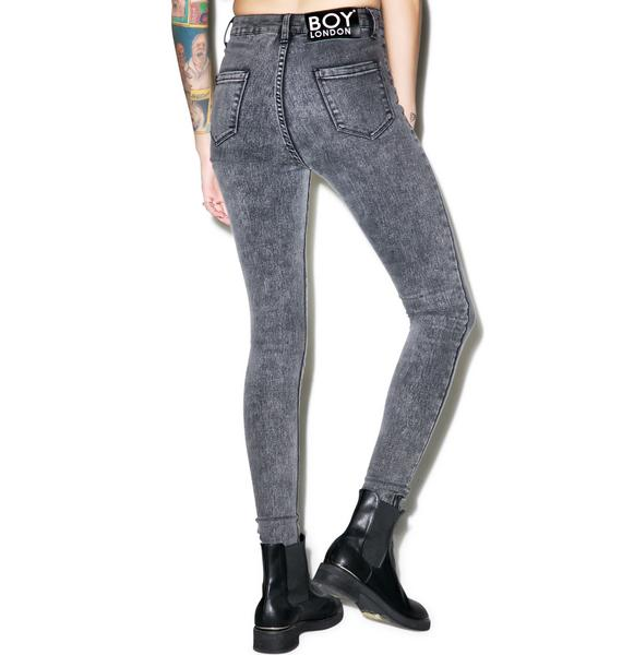 BOY London Boy High Waist Stoned Skinny Jeans