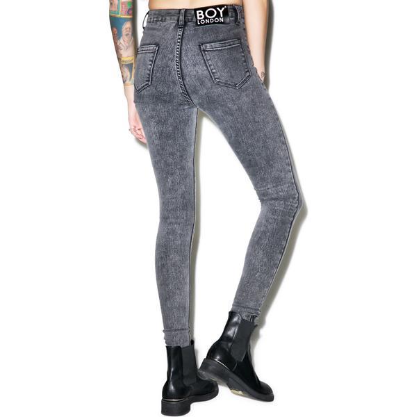 BOY London Boy High Waist Stoned Skinny Jeans