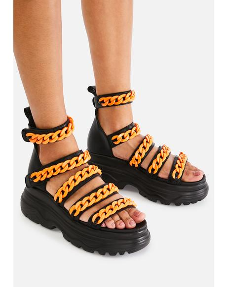 Orange Strident Chain Gladiator Sandals