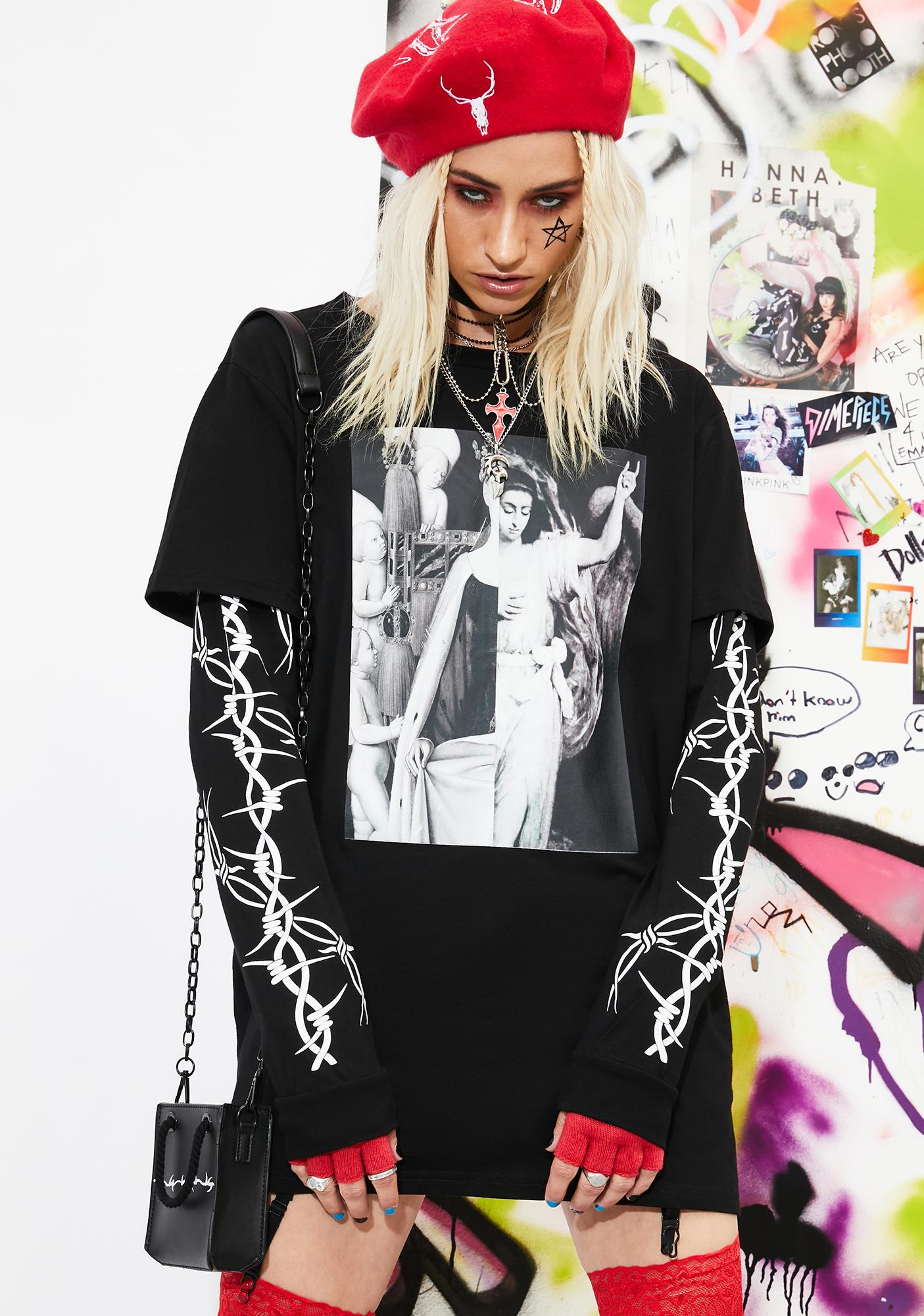 Current Mood Shadows Piercing Through Layered Graphic Tee