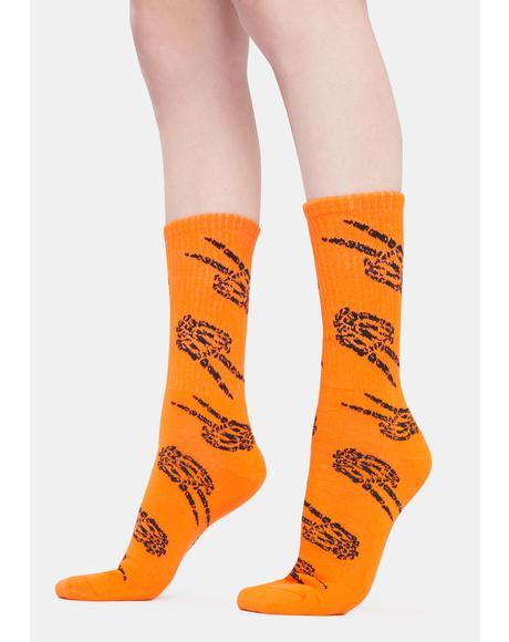 Orange Peace Crew Socks