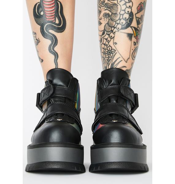 Demonia Synchronized Reflective Platform Sneakers