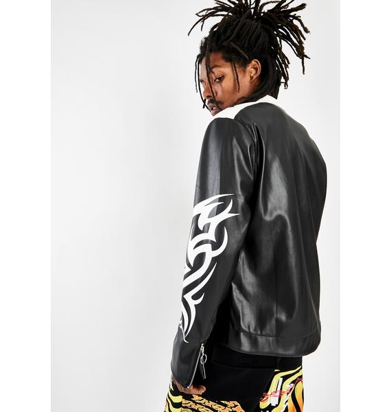 Jaded London Tribal Motocross Vegan Leather Jacket