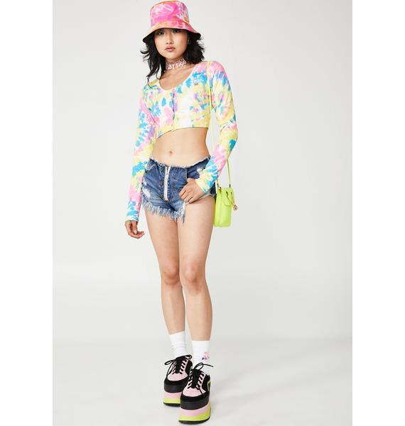 O Mighty Candy Tie Dye Button Crop Top