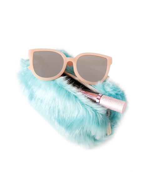 Mint Fur Makeup Bag