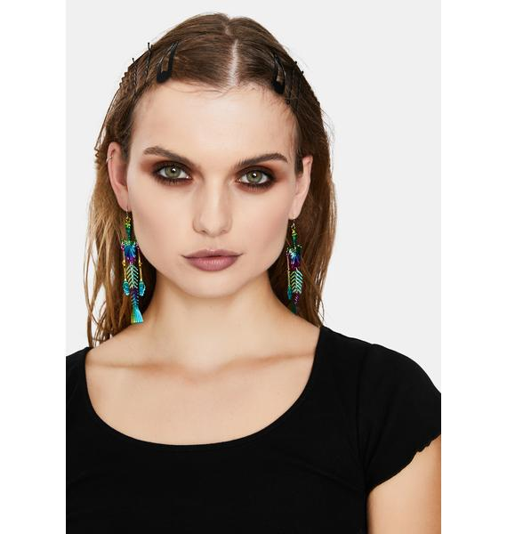 Iridescent Skeleton Mermaid Drop Earrings