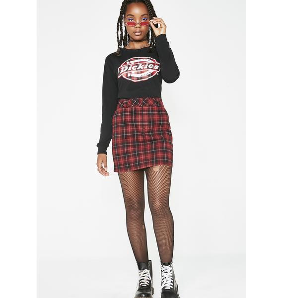 Dickies Girl Long Sleeve Plaid Logo Tee
