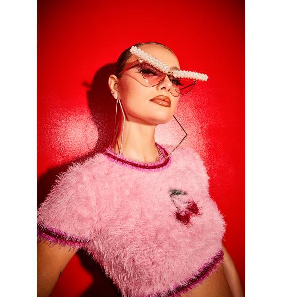 U Come in Clutch Pearl Cat Eye Sunglasses