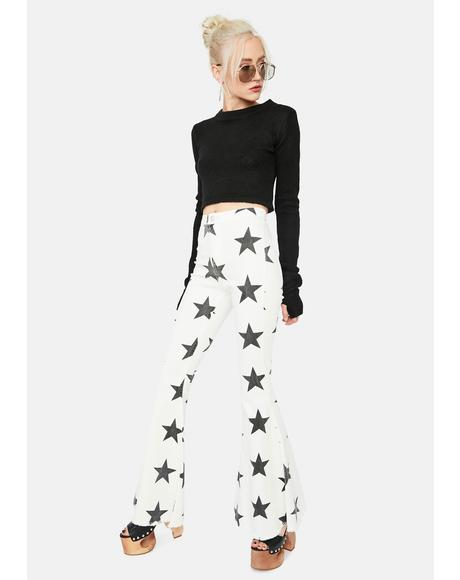 Ivory California Dreamin' Star Denim Flares