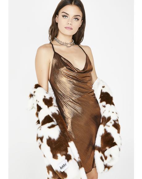 Strictly Servin' Metallic Dress