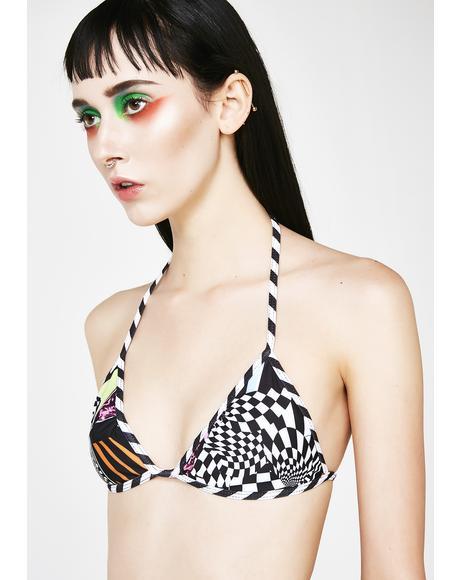 Skater Print Triangle Bikini Top