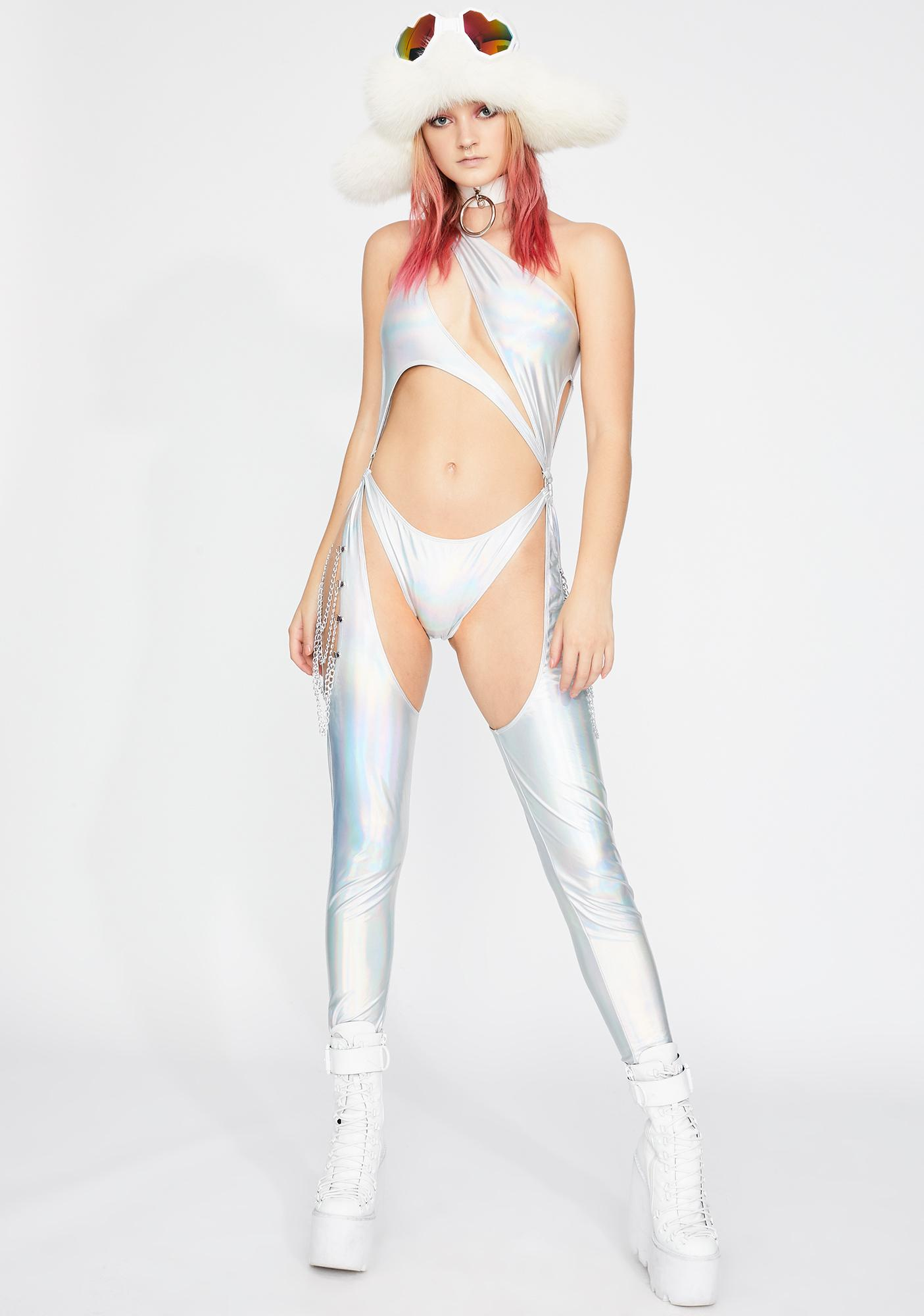 Club Exx Prism Moonwalk Cut-Out Catsuit