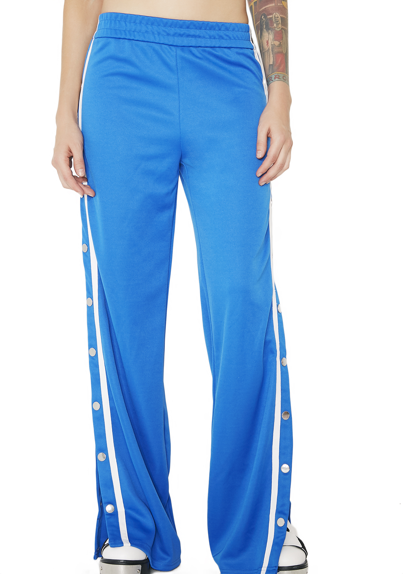 Snap Button Blue Track Pants