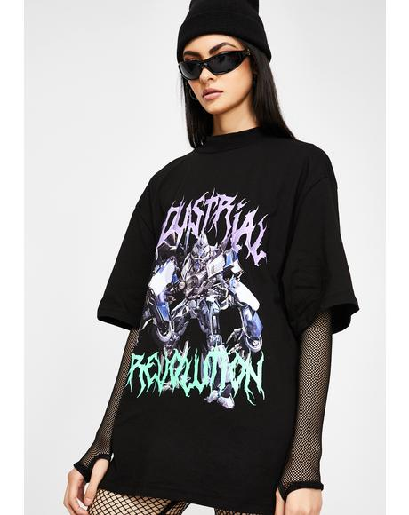 Black Revolution Robot Print T-Shirt