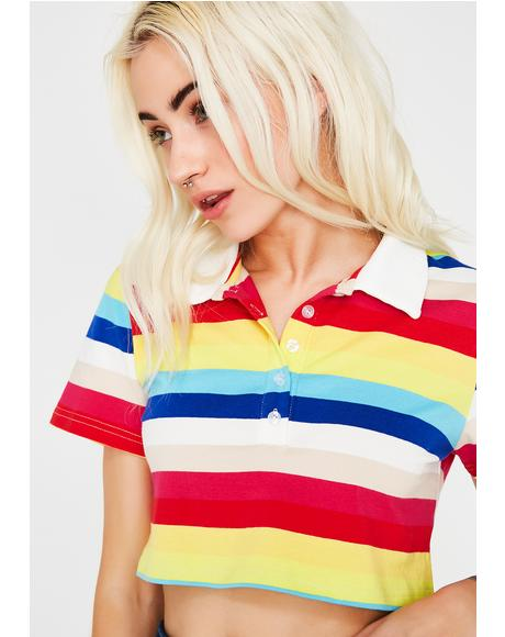 Cool Nerd Polo Crop Top