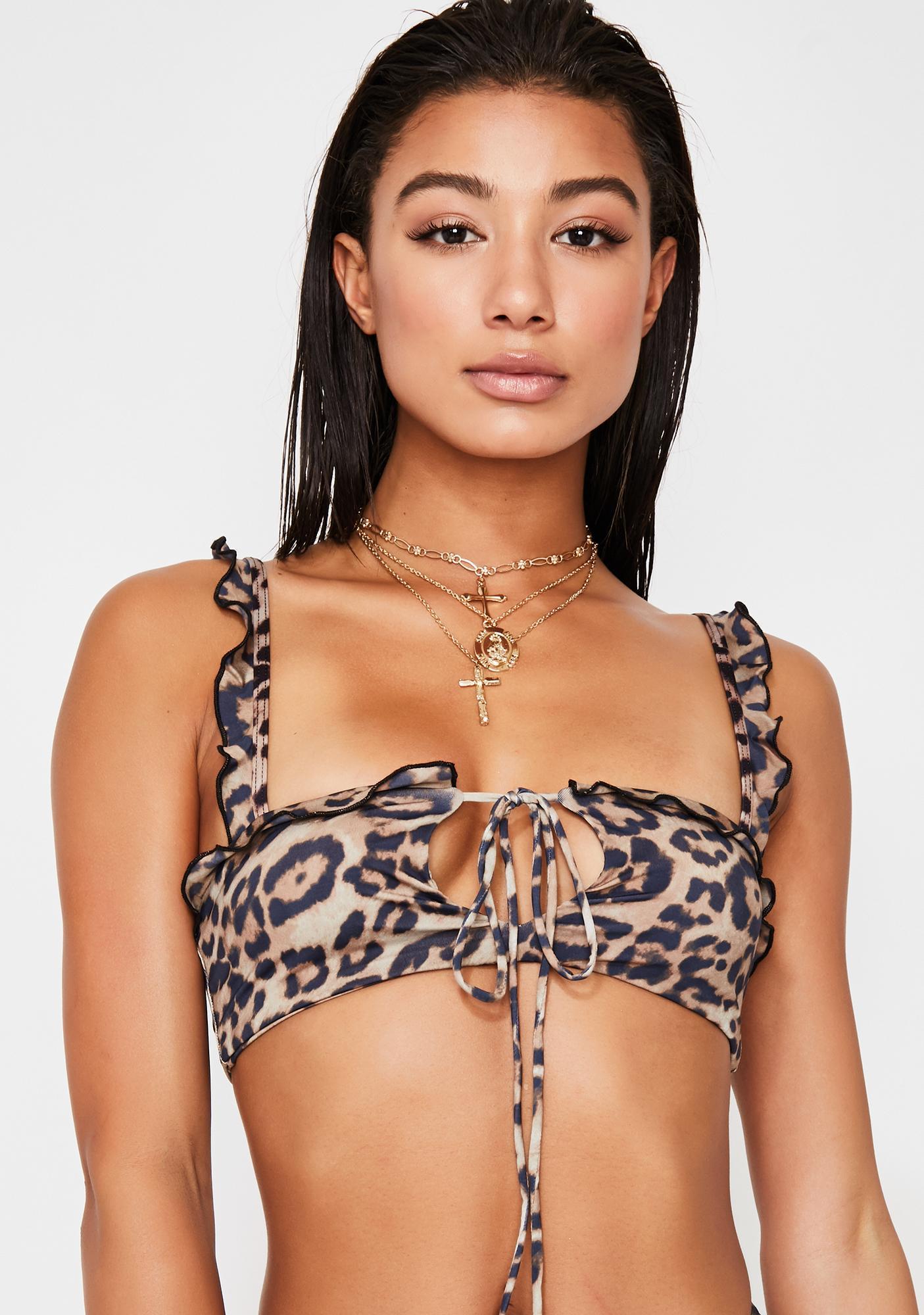 Frankies Bikinis Leopard Mackenzie Bikini Top