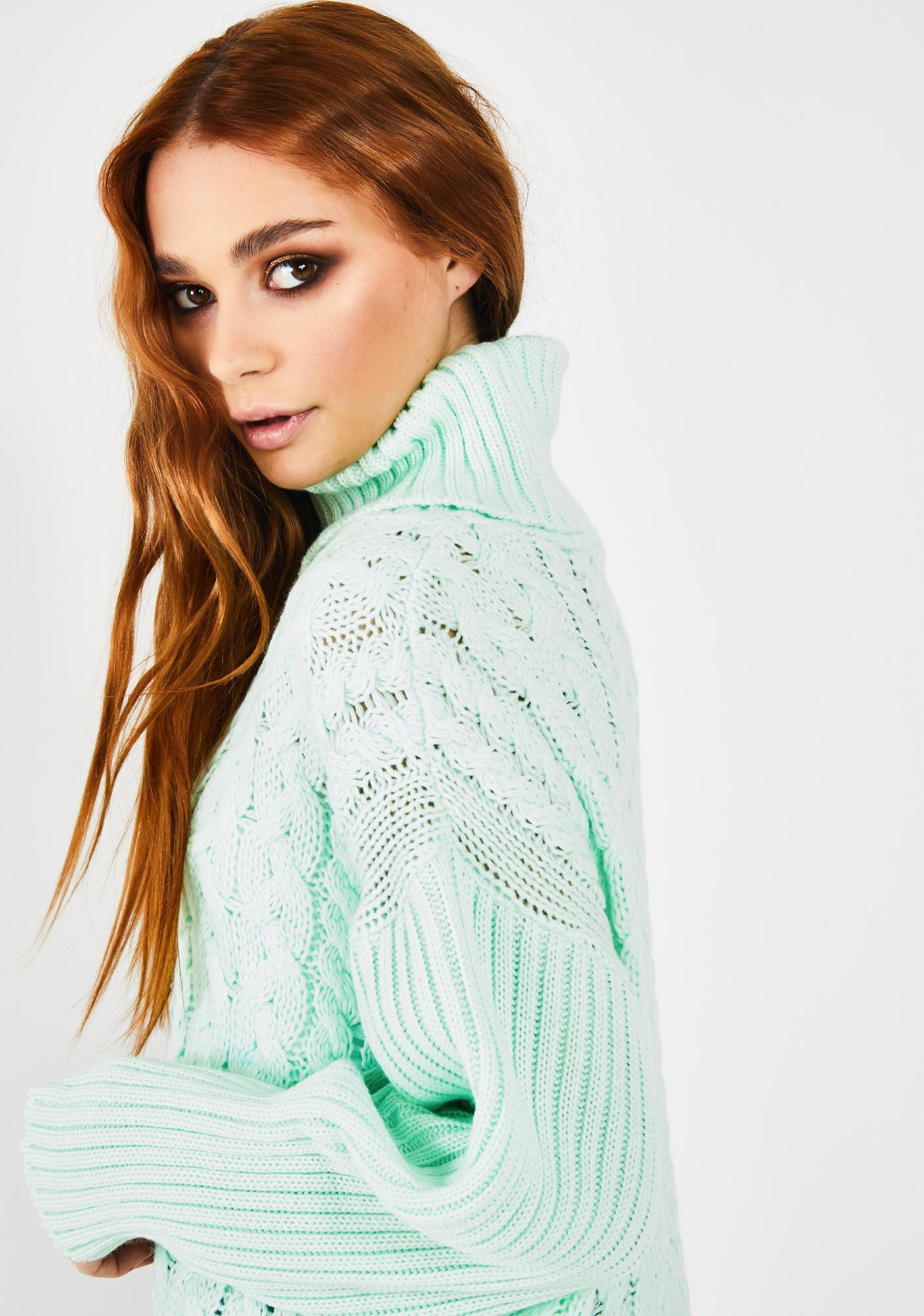 Glamorous Mint Cable Knit Turtleneck Sweater