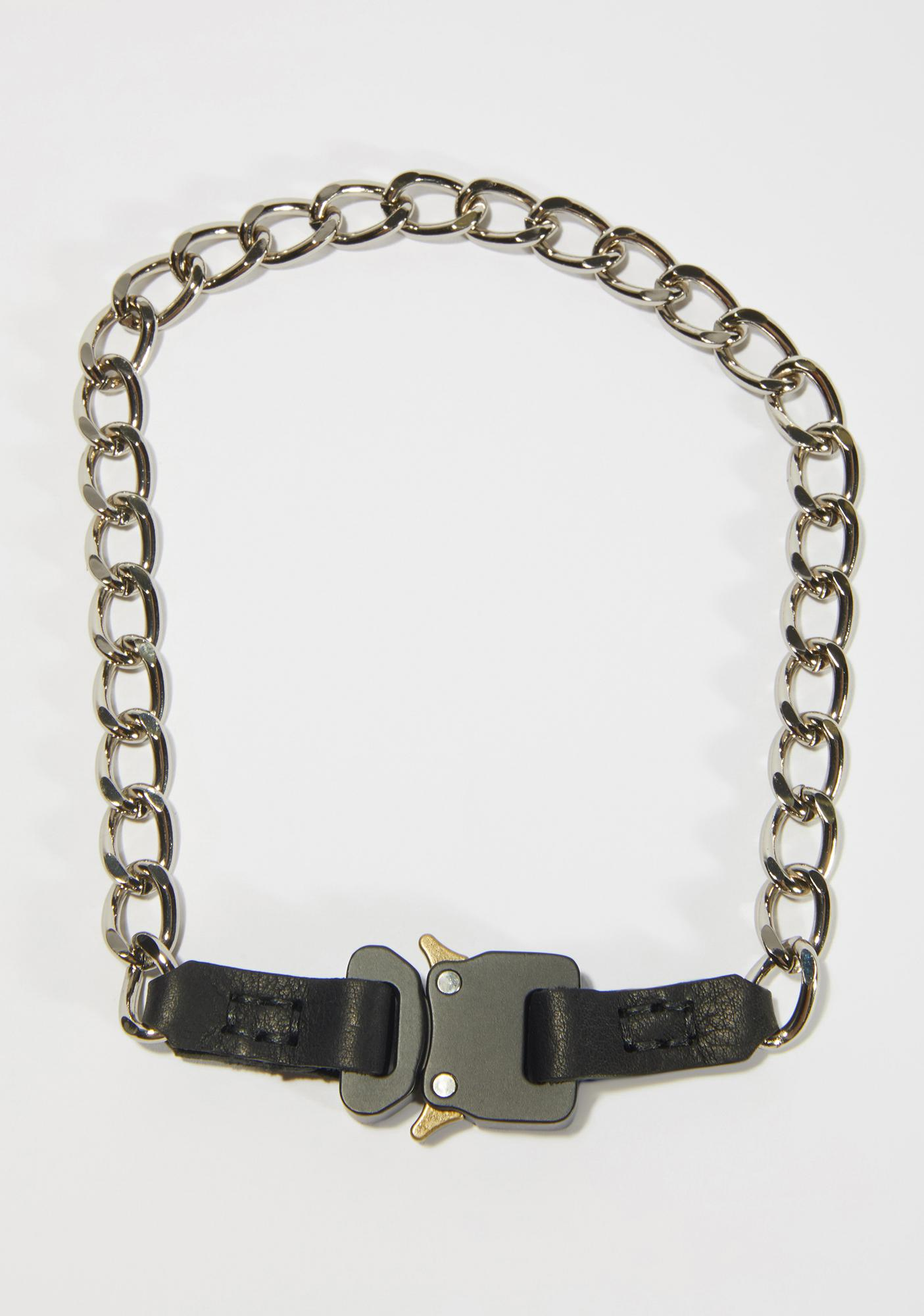 Synth Chain Necklace With Black Buckle