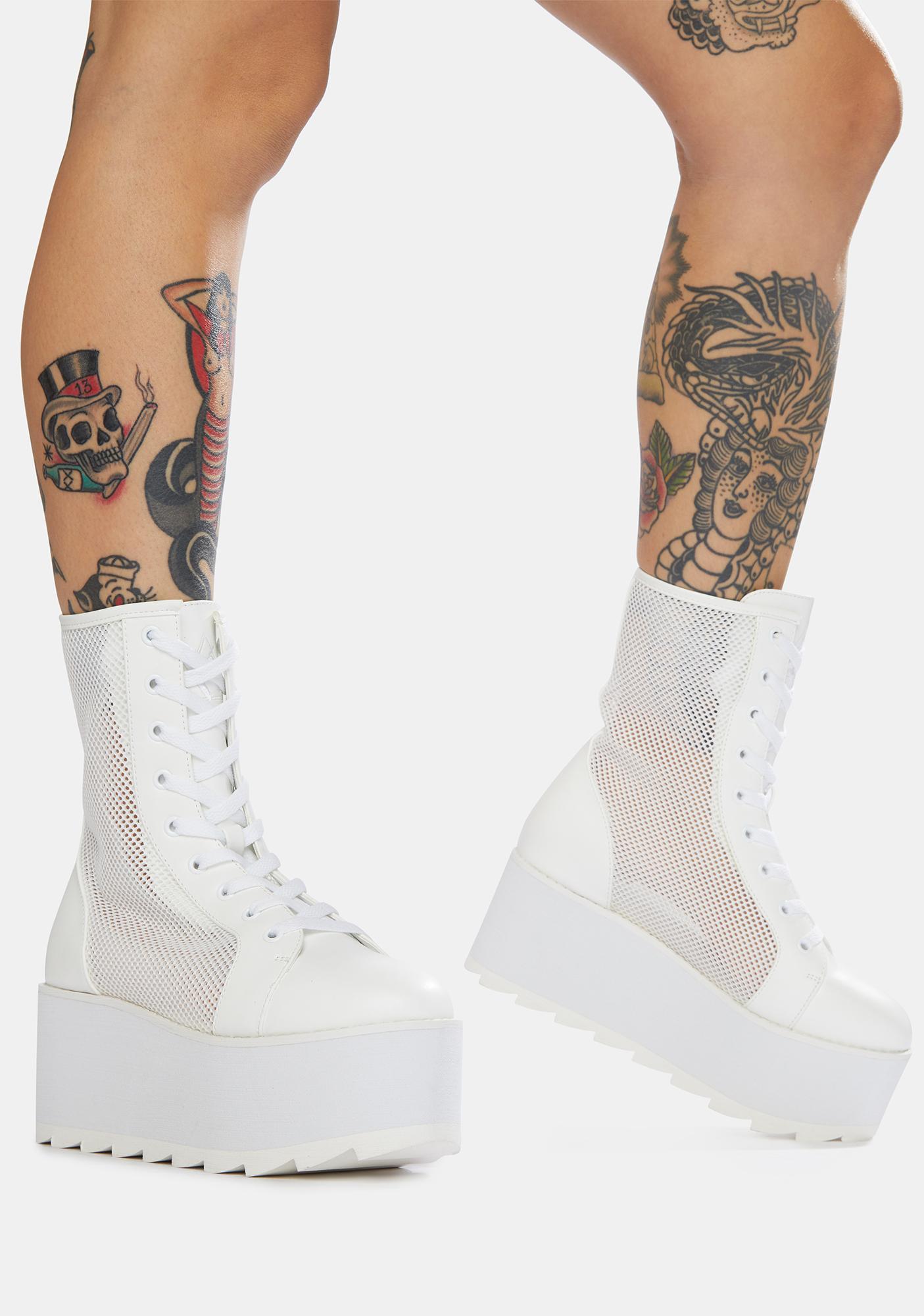 Y.R.U. White Bloq Mesh Platform Boots