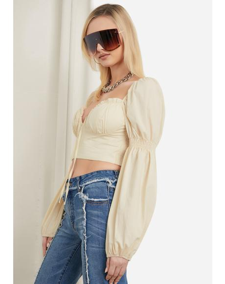 Blissful Pleasures Tie Front Puff Sleeve Crop Top