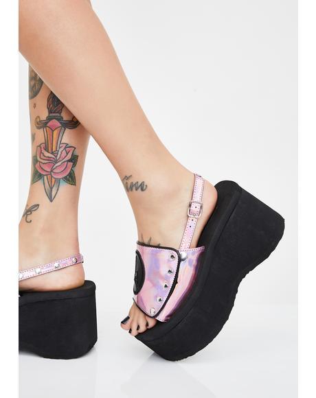 Holographic Funn Platform Sandals