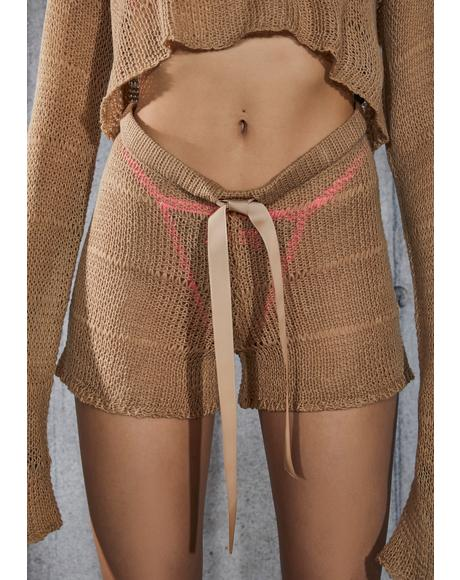 Snare Tan Sheer Knit Shorts