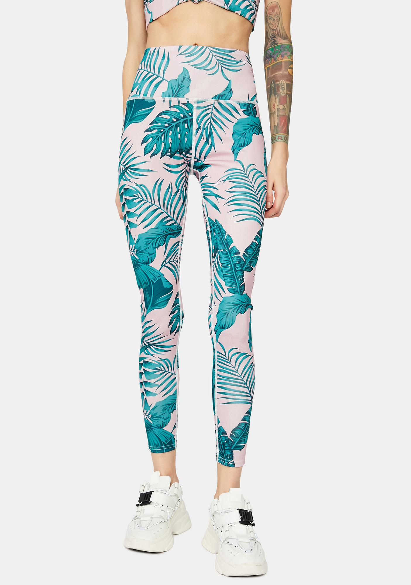 No Days Off Leaf Print Sport Leggings